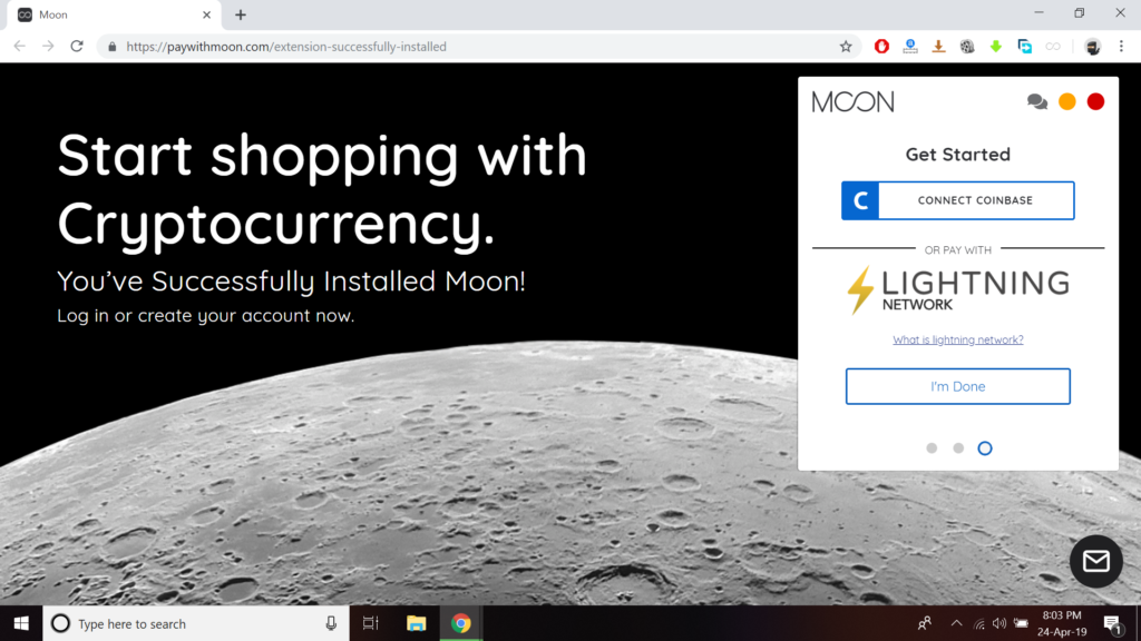 link coinbase with moon