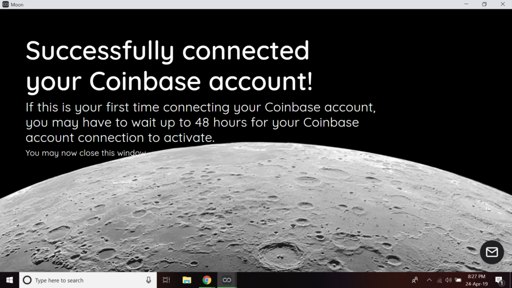 coinbase connected successfully